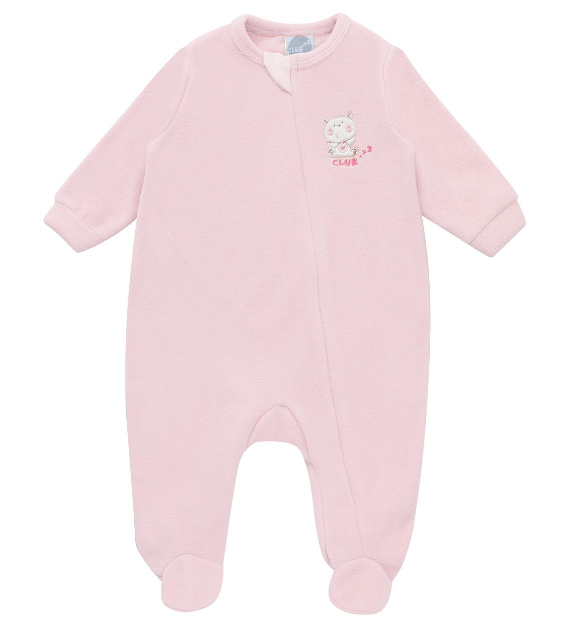 Macacão Pijama Rosa Bebê (zíper)