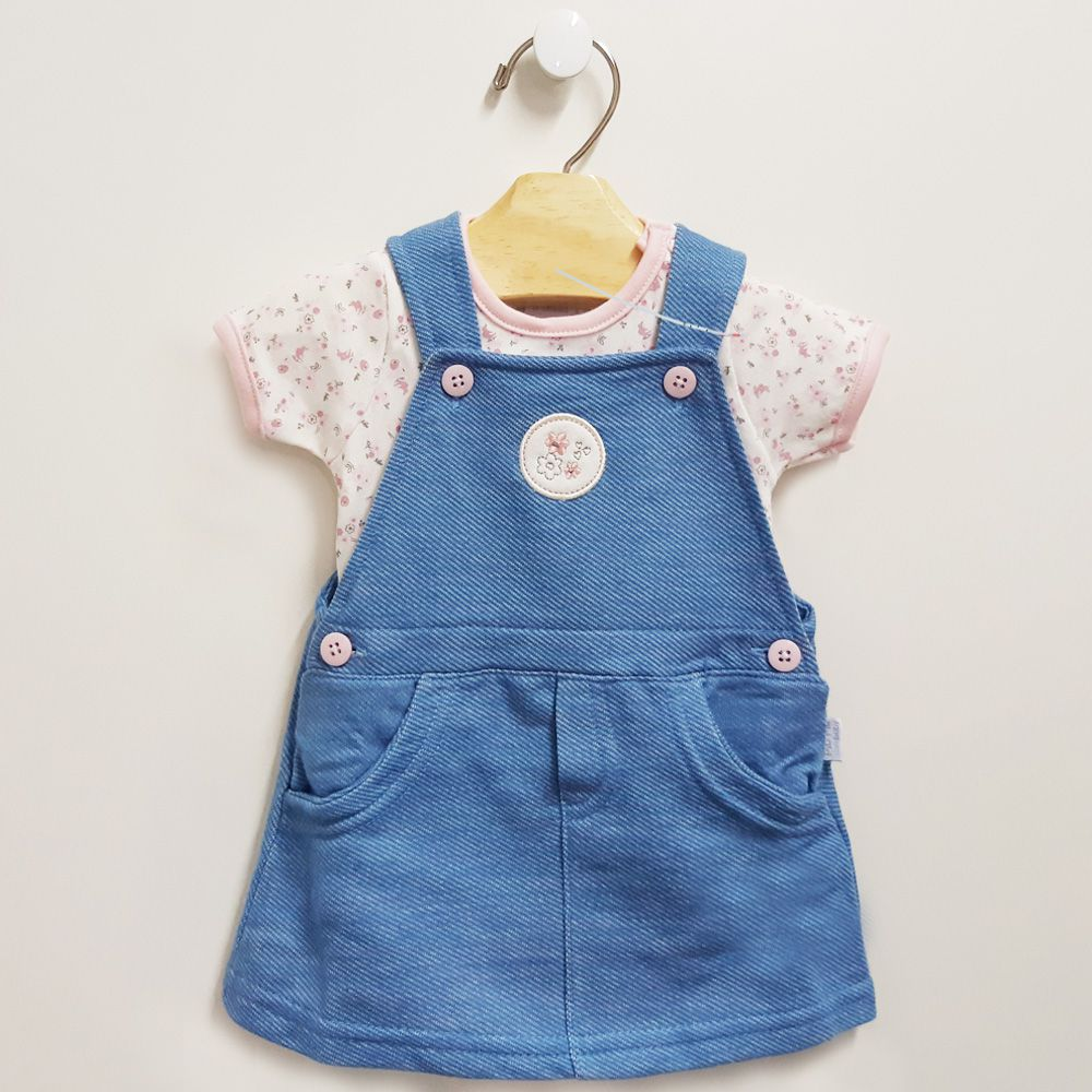Vestido Jardineira Malha Jeans + Body