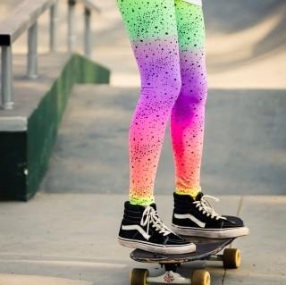 Calça Legging Adulto Básica Estampada Estrela Neon