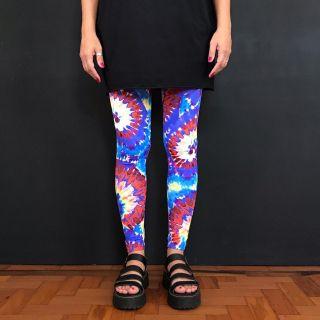 Calça Legging Adulto Básica Estampada Tie Dye Azul
