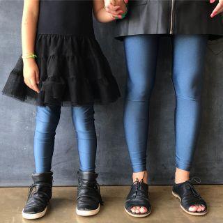 Calça Legging Adulto Cintura Alta Brilhante Azul Lunar