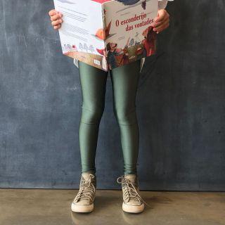 Calça Legging Infantil Brilhante Oliva