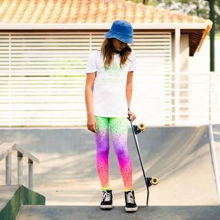 Calça Legging Infantil Estampada Estrela Neon