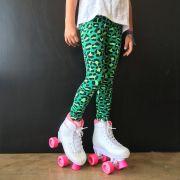 Calça Legging Infantil Estampada Onça Verde
