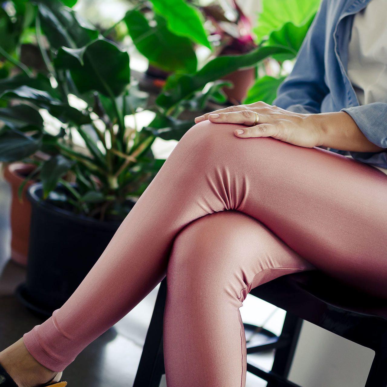 Calça Legging Adulto Básica Brilhante Rose