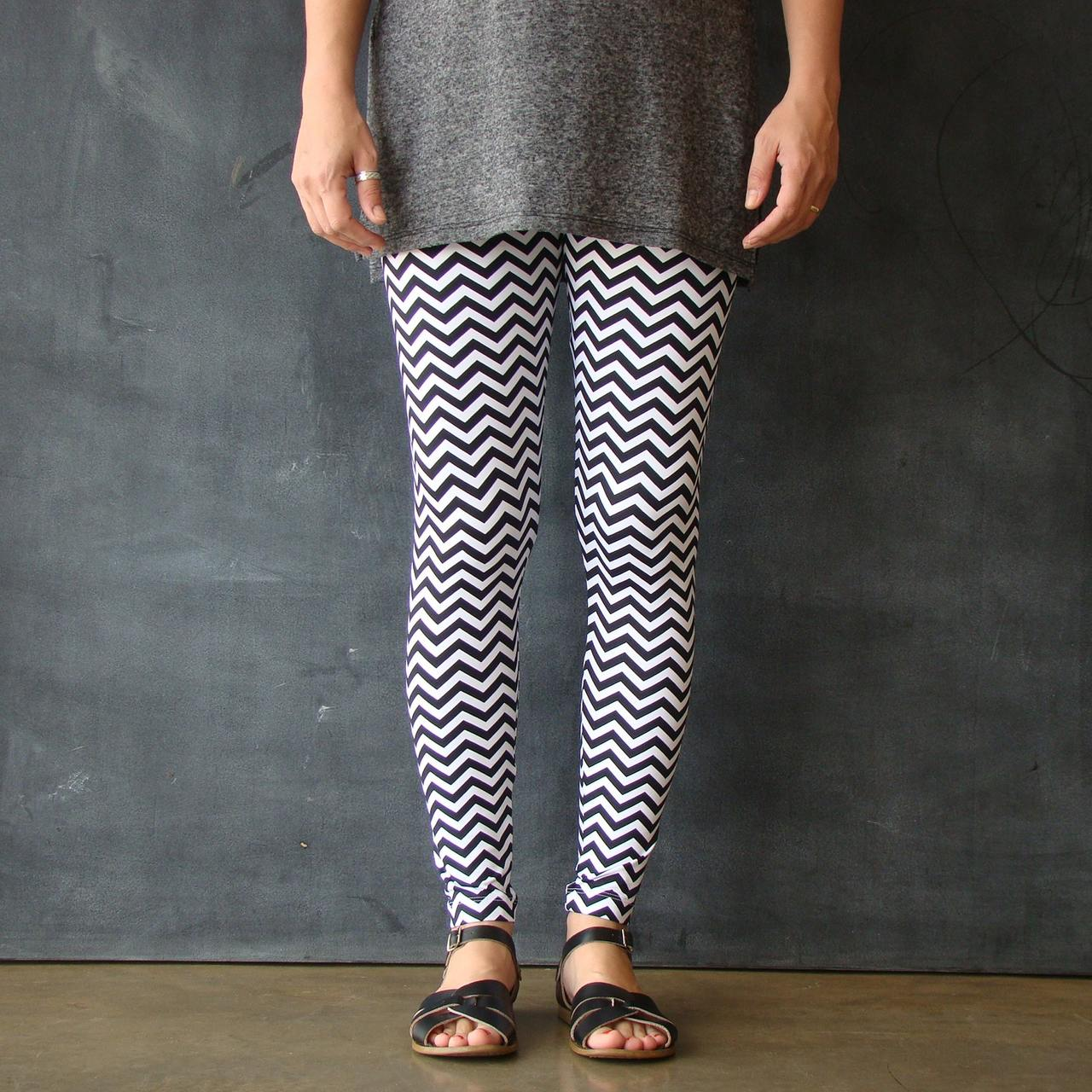 Calça Legging Adulto Básica Estampada Zigzag