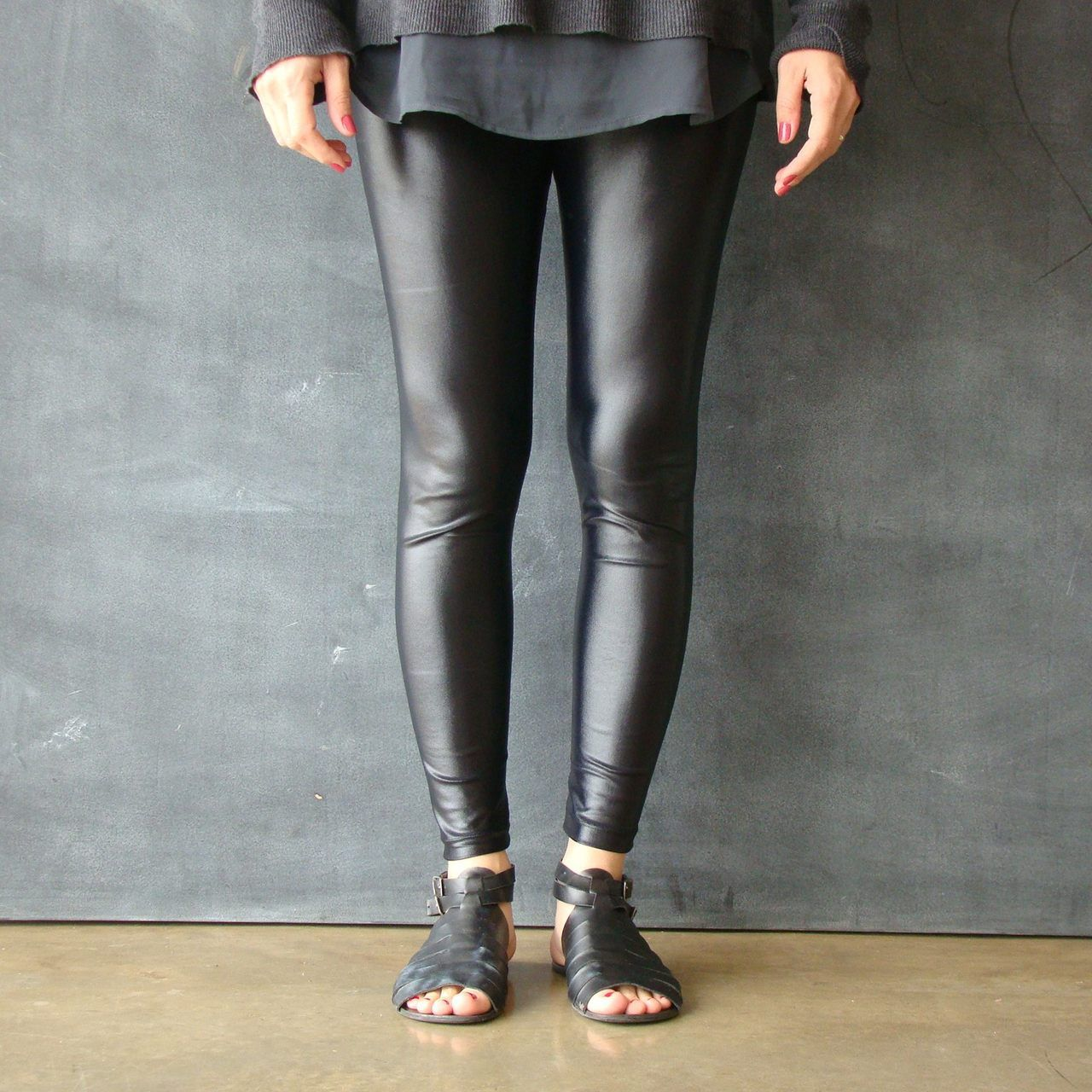 Calça Legging Adulto Cintura Alta Brilhante Cirre Black