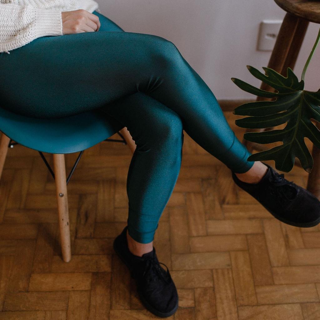 Calça Legging Adulto Cintura Alta Brilhante Petróleo