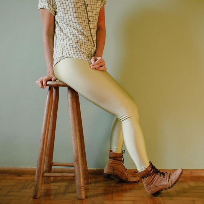 Calça Legging Adulto Cintura Alta Brilhante  Pistache