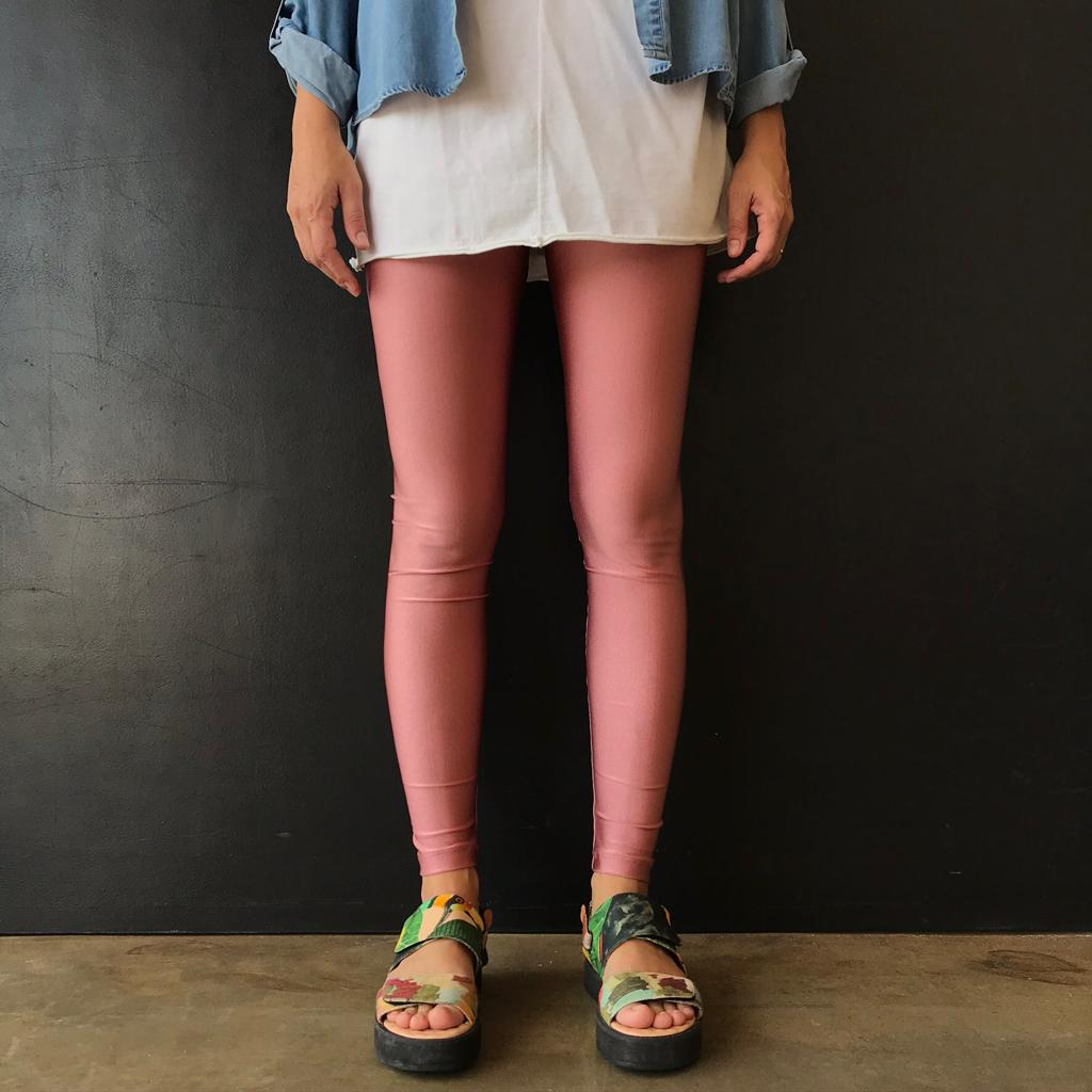 Calça Legging Adulto Cintura Alta Brilhante Rose