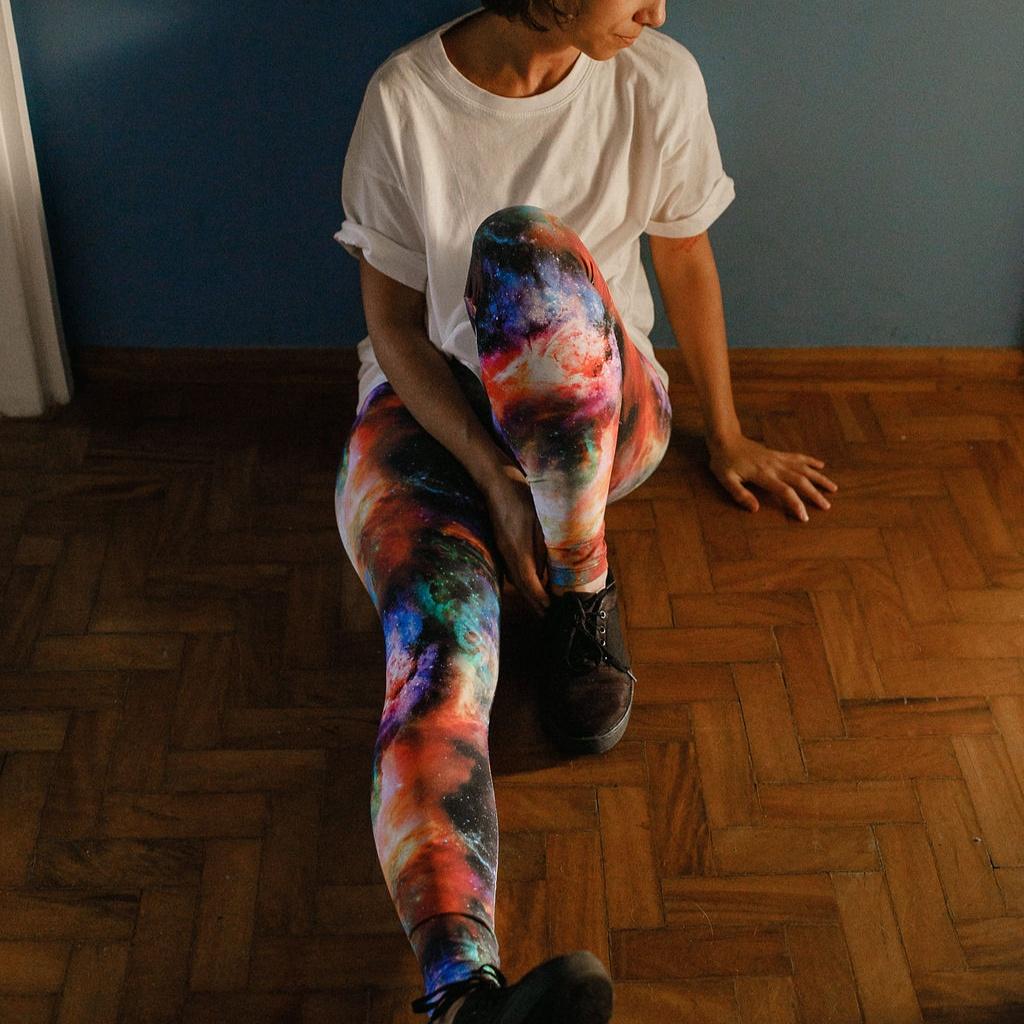 Calça Legging Adulto Cintura Alta Estampada Galáxia