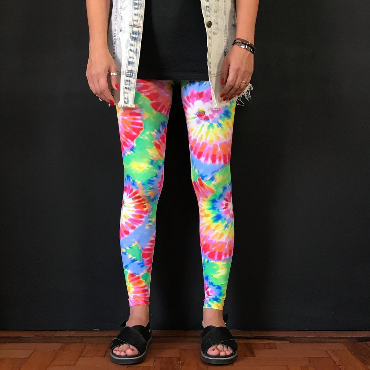 Calça Legging Adulto Cintura Alta Estampada Tie Dye