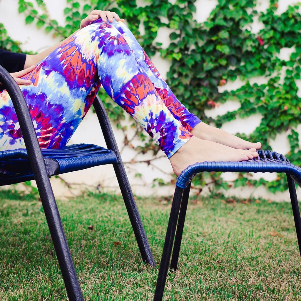 Calça Legging Adulto Cintura Alta Estampada Tie Dye Azul