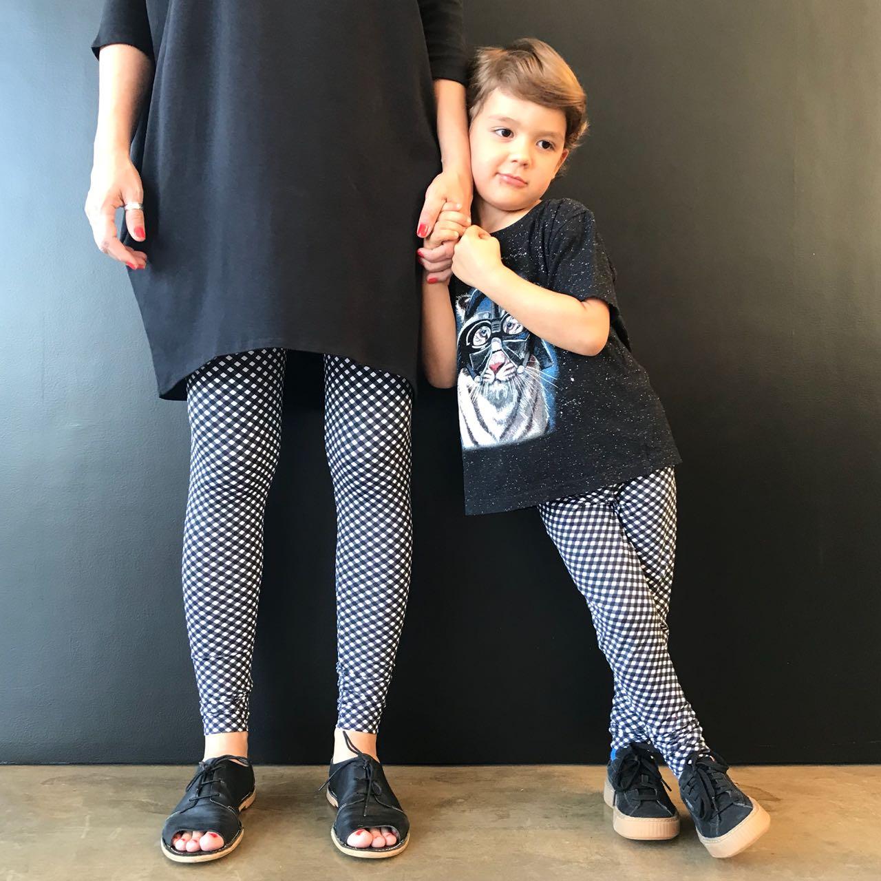 Calça Legging Adulto Cintura Alta Estampada Xadrez