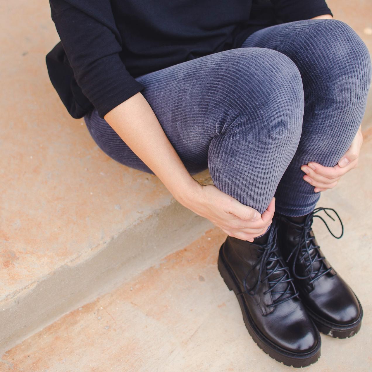 Calça Legging Adulto Cintura Alta Veludo Cinza