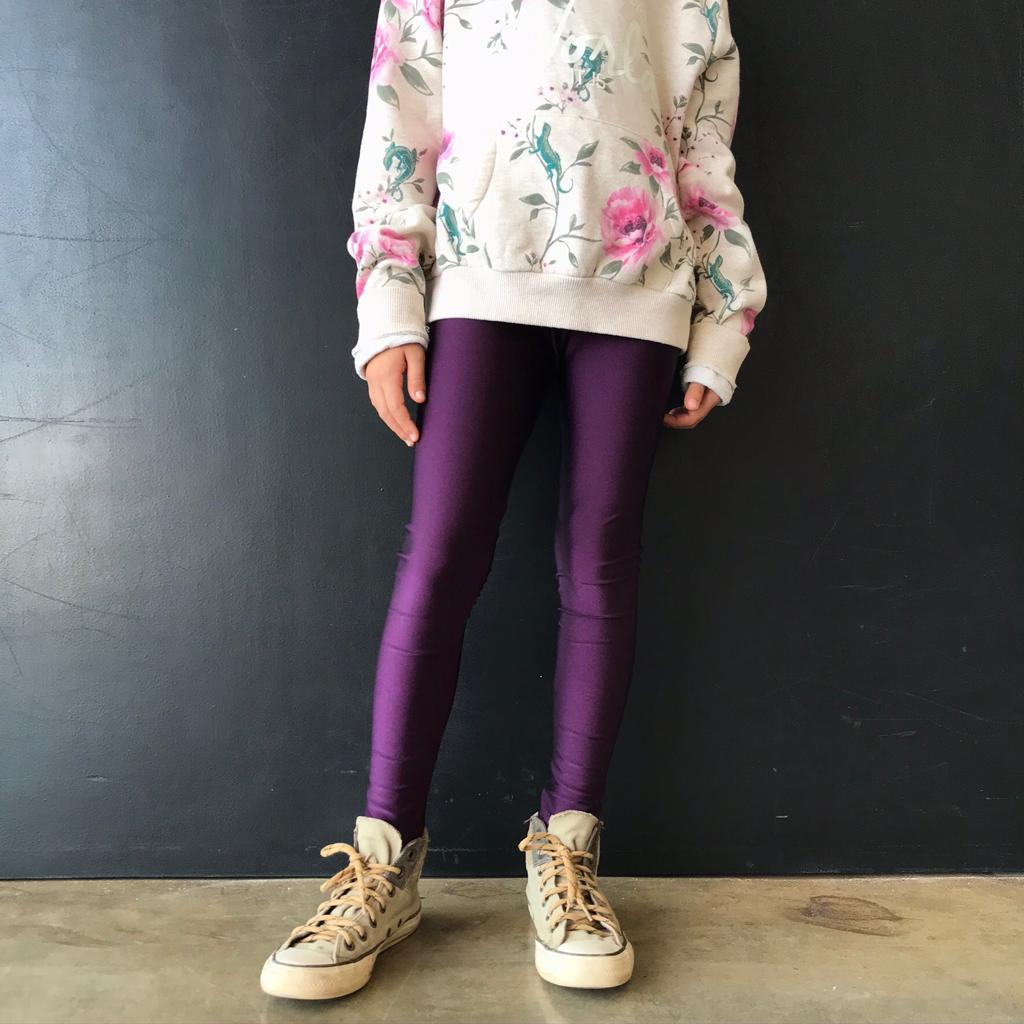 Calça Legging Infantil Brilhante Berinjela