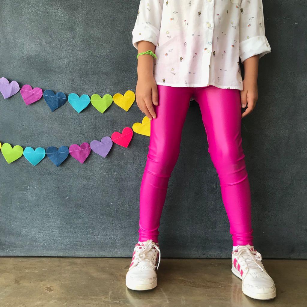 Calça Legging Infantil Brilhante Pink