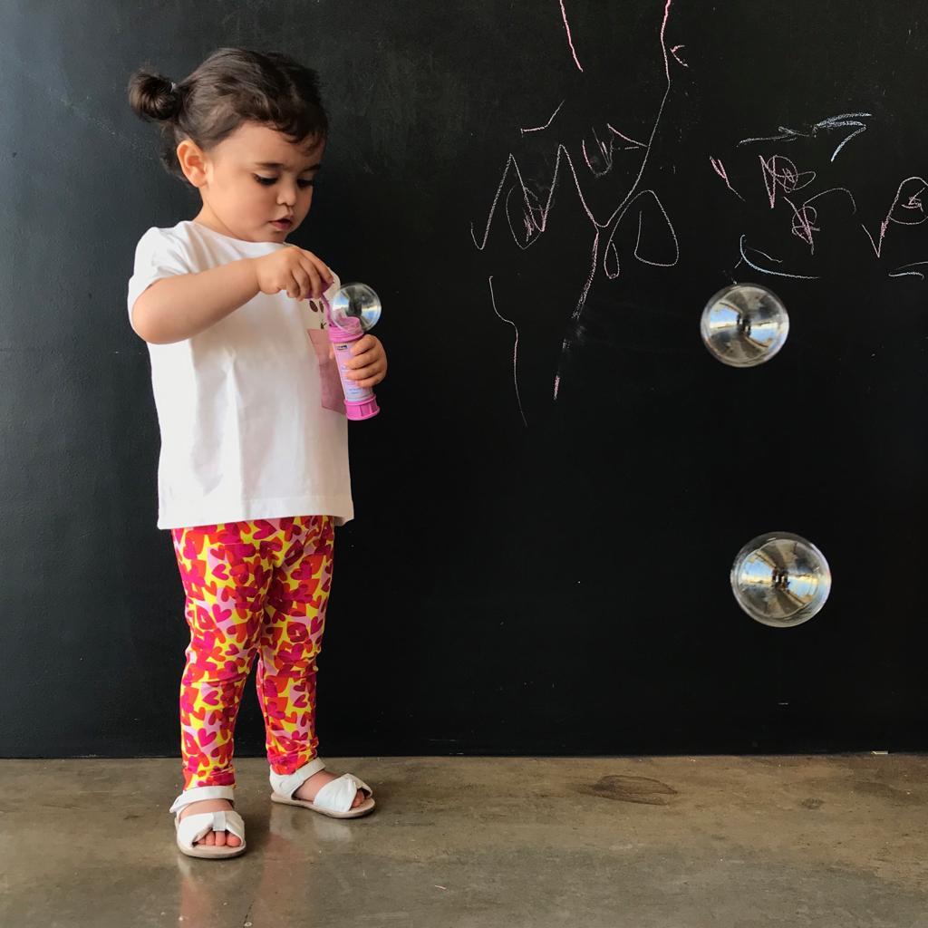 Calça Legging Infantil Estampada Coração