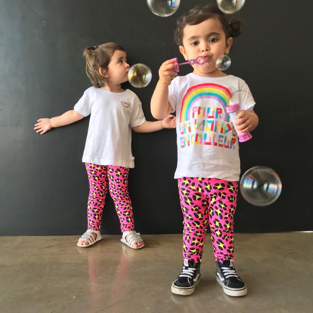Calça Legging Infantil Estampada Onça Pink