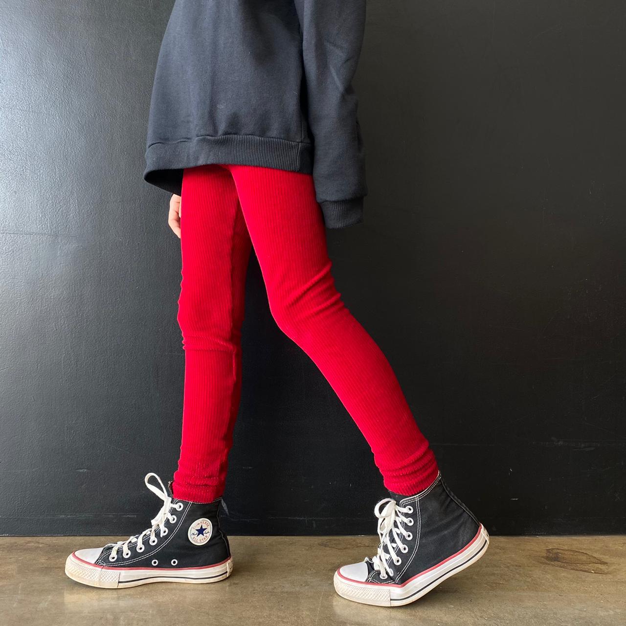 Calça Legging Infantil Veludo Carmim