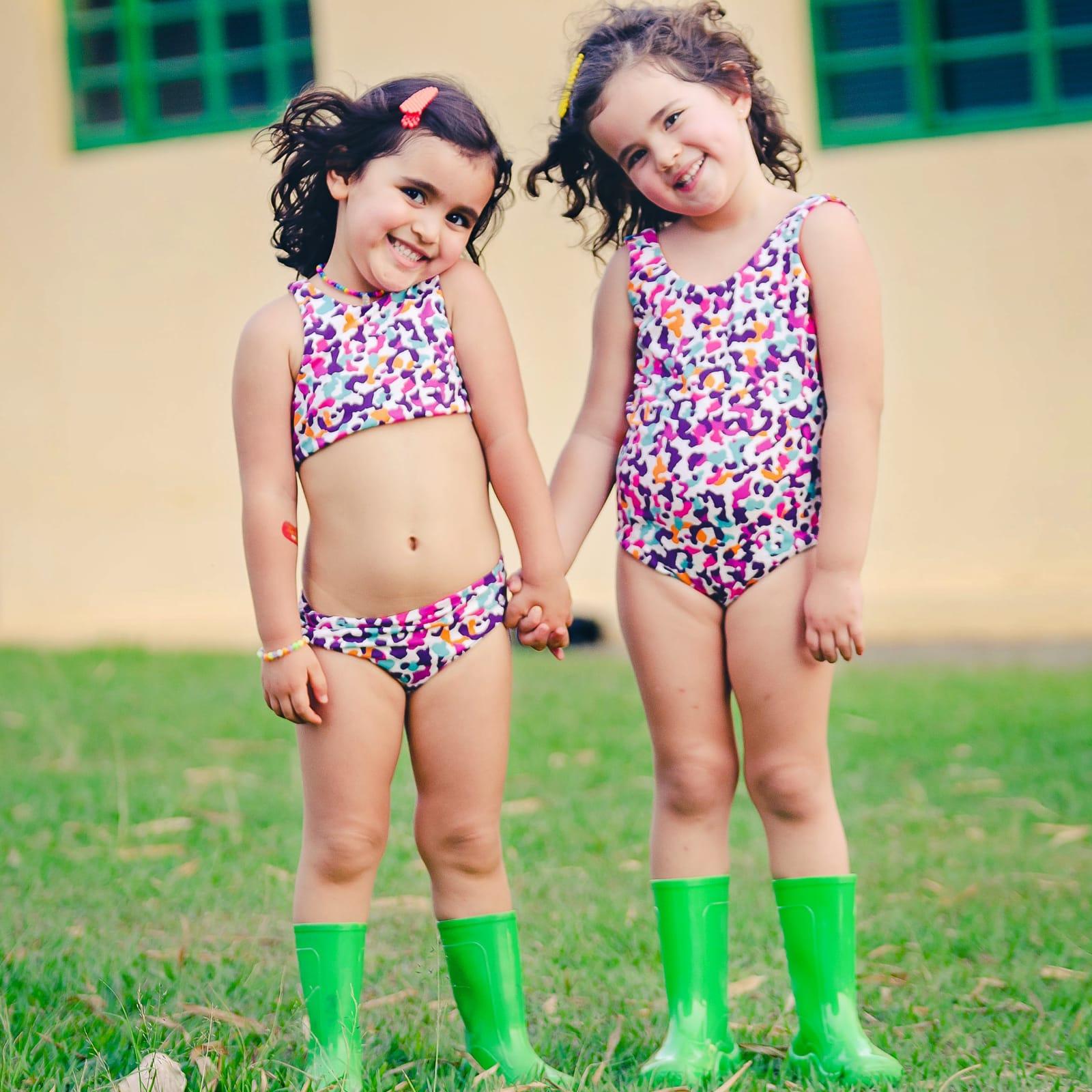 Maiô Infantil Dupla Face Estampado  Onça Color
