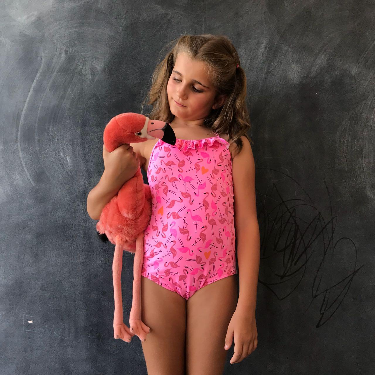 Maiô Infantil Estampado Flamingo