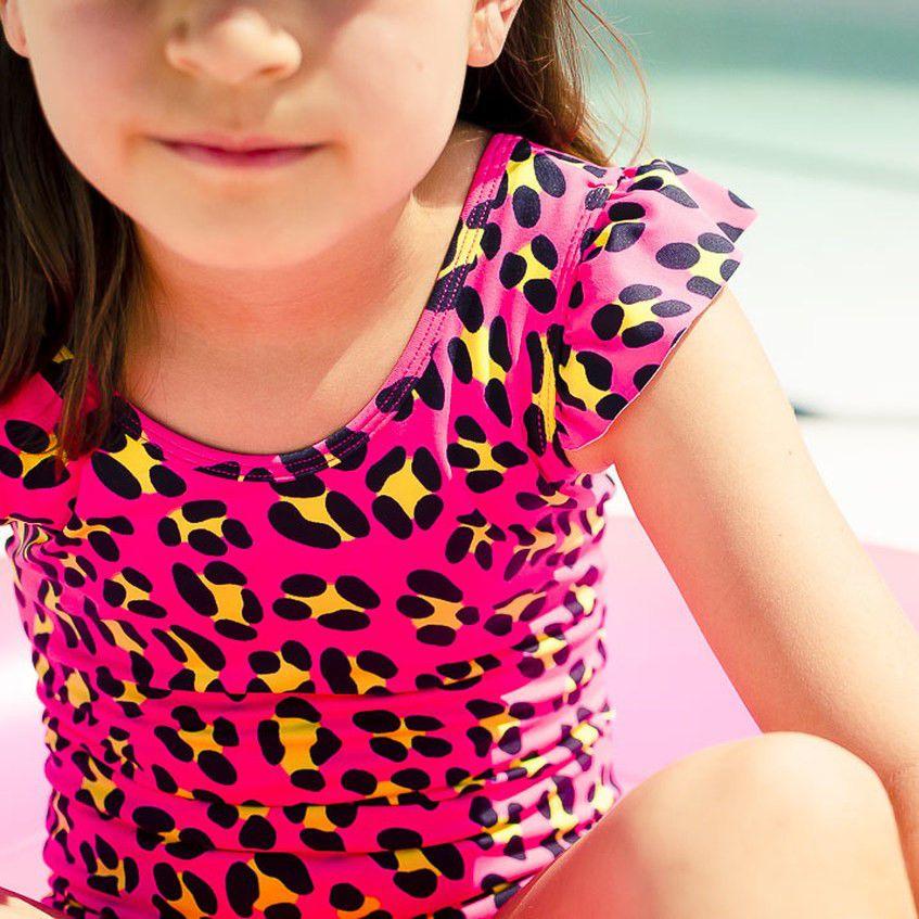 Maiô Infantil Estampado Onça Pink