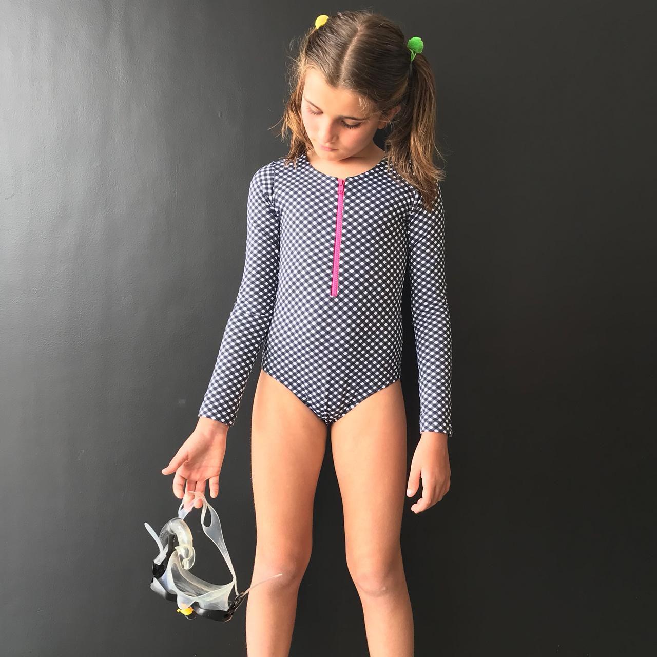 Maiô Surf Infantil Xadrez com Zíper