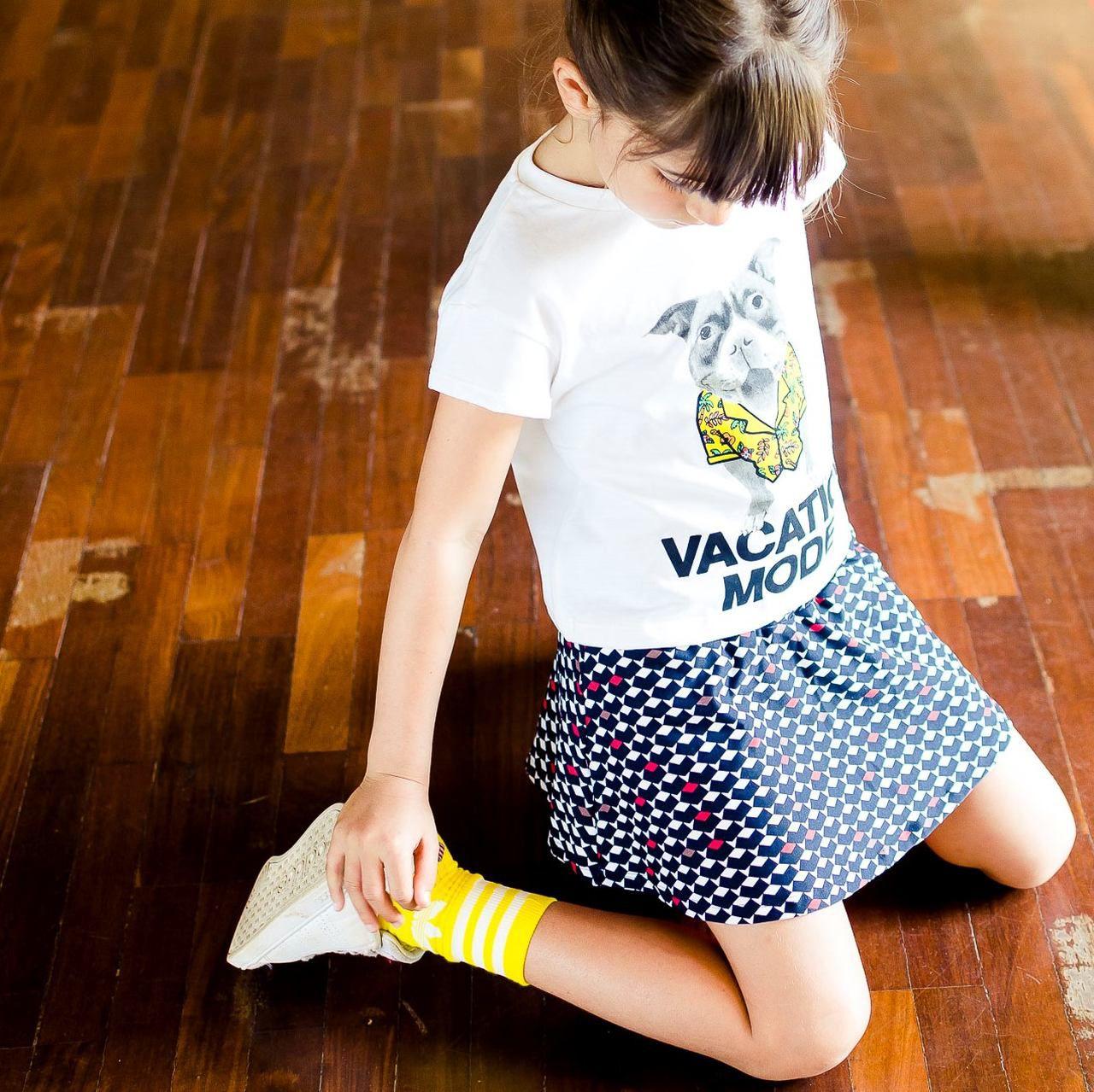 Short Saia Infantil Estampado Retrô