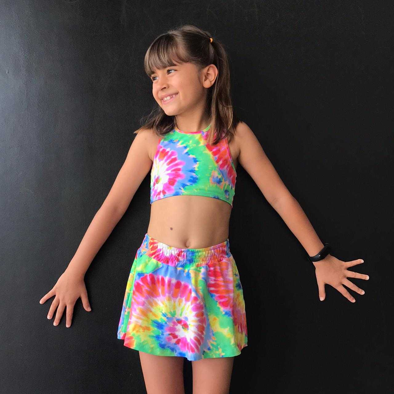 Short Saia Infantil Estampado Tie Dye