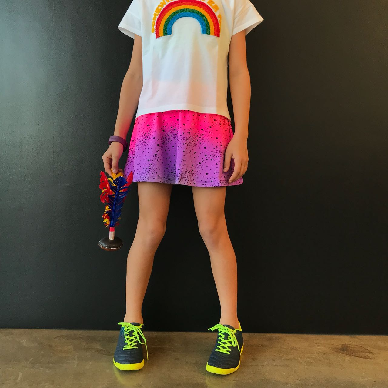 Short Saia Infantil Estampado Estrela Neon