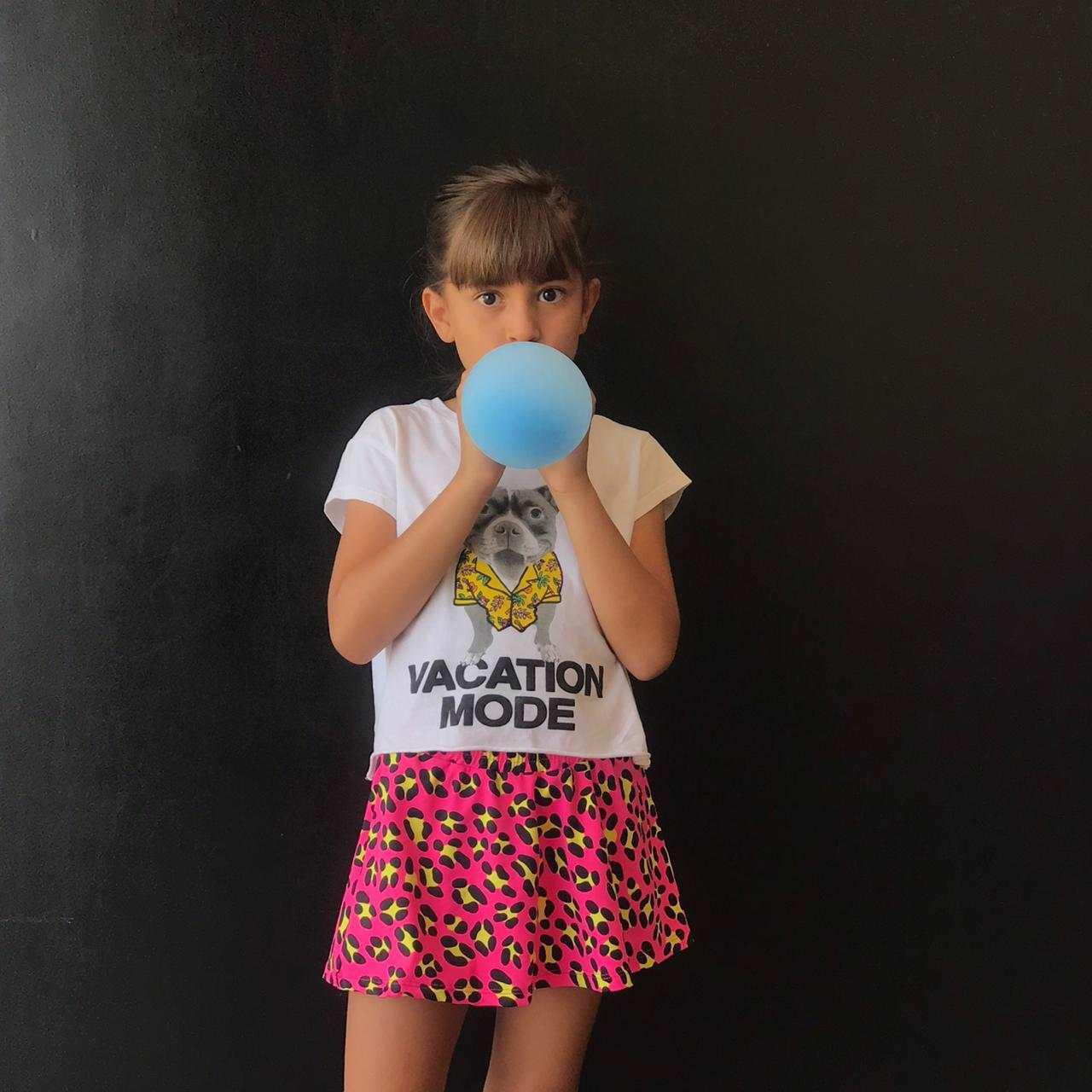 Short Saia Infantil Estampado Onça Pink