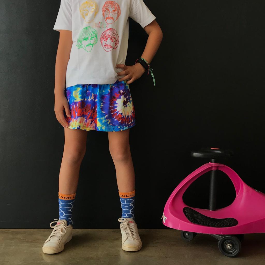 Short Saia Infantil Estampado Tie Dye Azul