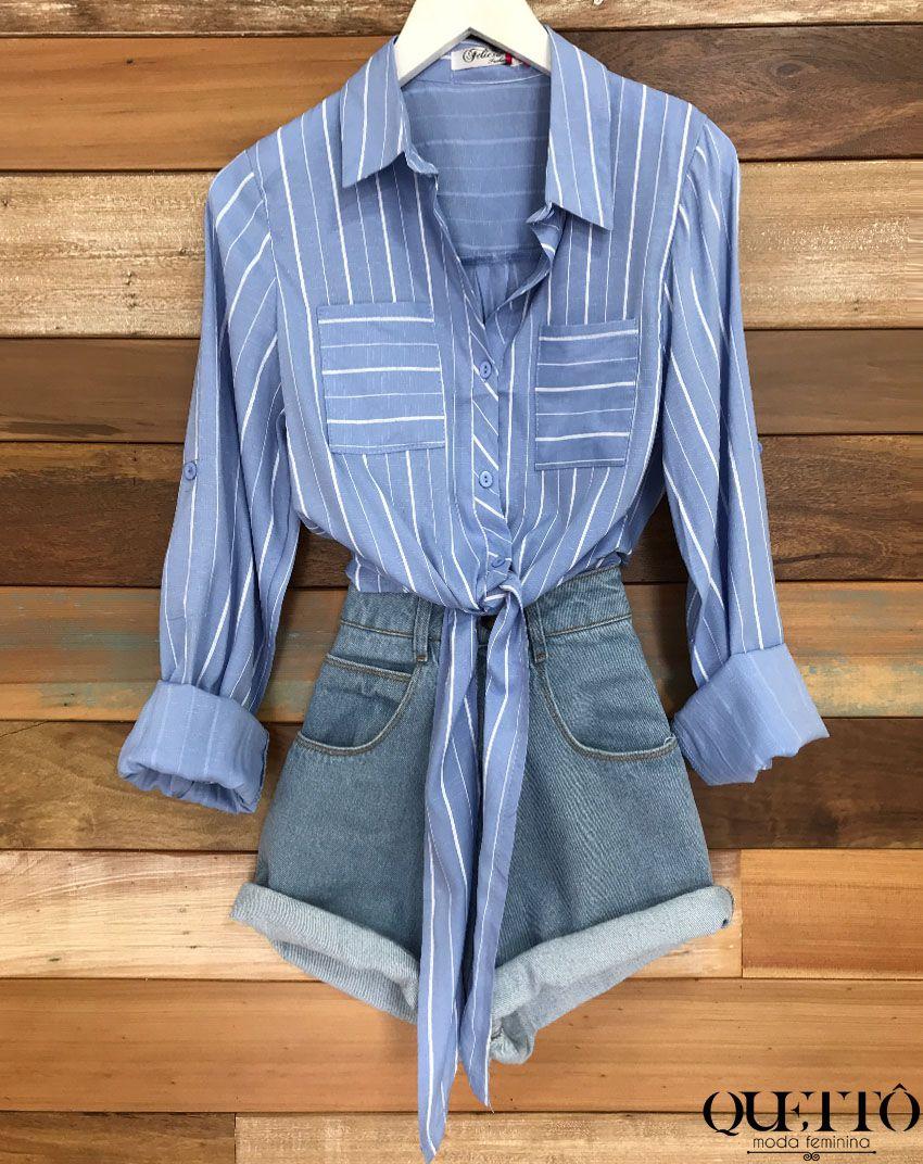 39415180ce4bc Camisa feminina cropped com amarração azul com listras