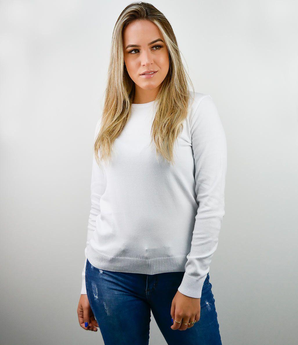 BLUSA ELLIS BÁSICA DECOTE REDONDO 100% ALGODÃO BRANCA