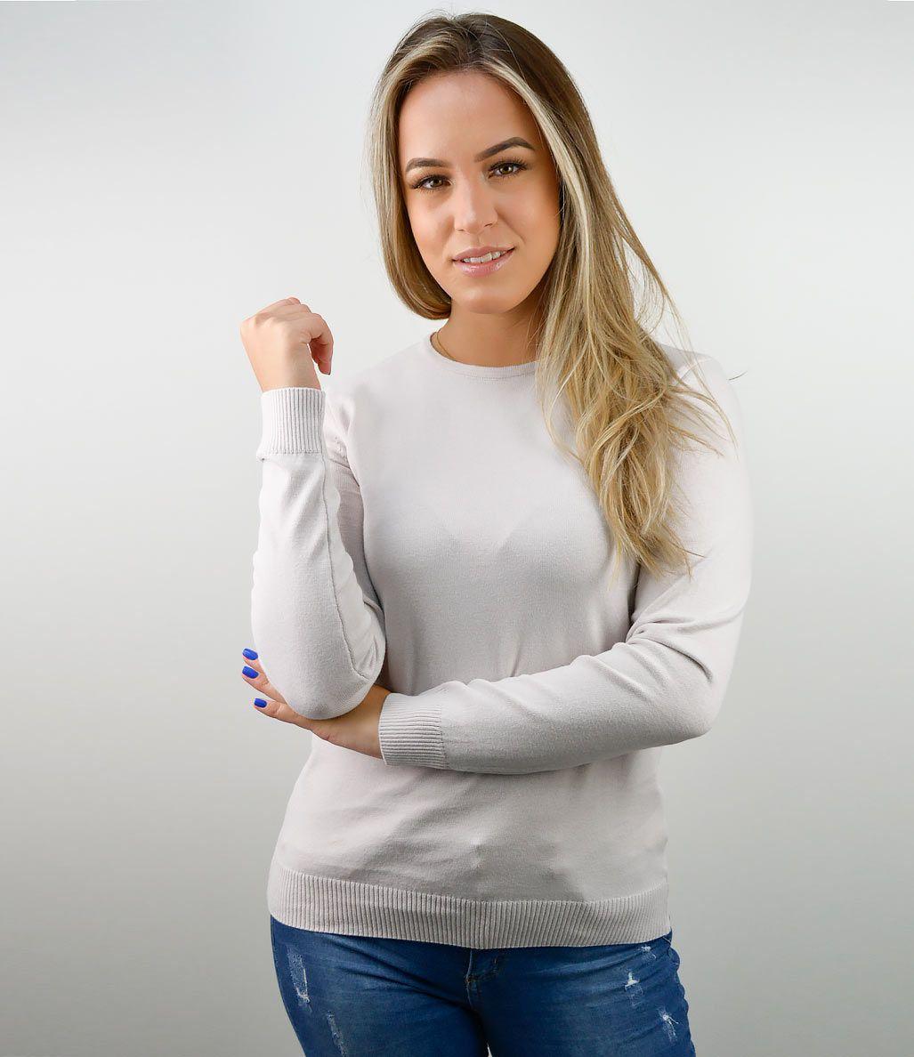 BLUSA ELLIS BÁSICA DECOTE REDONDO 100% ALGODÃO CINZA CLARO