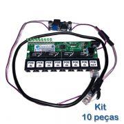 Kit 10 peças - Placa PCBA Xwave PobreNet PAC Switch 8 Portas Fast Ethernet + Conversor DC/DC 12 - 48V