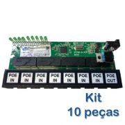 Kit 10 peças - Placa PCBA Xwave PobreNet PAC Switch 8 Portas FE 12 - 48V