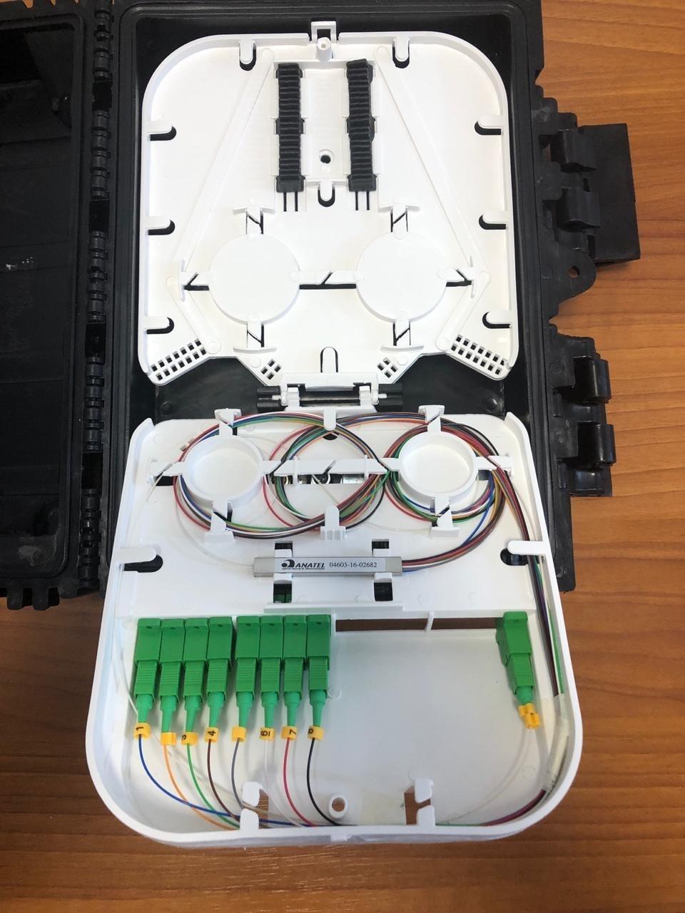 CTO 8 FO com Splitter 1:8 e duas bandejas  - COMPUTECH TECNOLOGIA