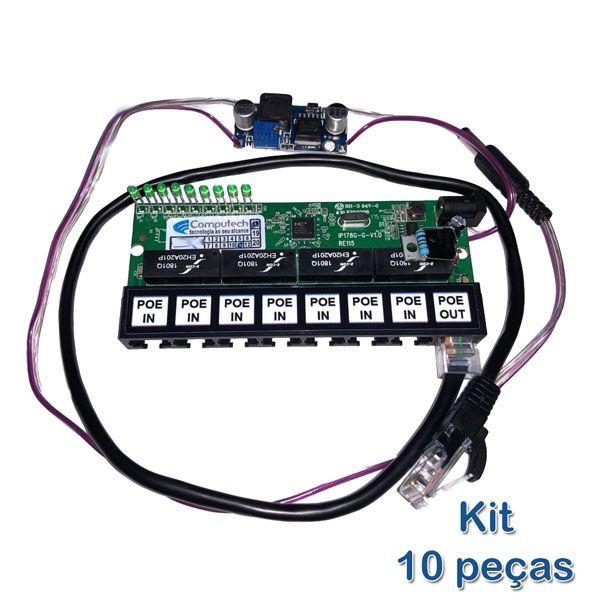 Kit 10 peças - Placa PCBA Xwave PobreNet PAC Switch 8 Portas Fast Ethernet + Conversor DC/DC 12 - 48V  - ComputechLoja