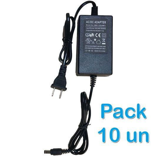 Kit 10 unidades - Fonte de Alimentação 24V 1A - padrão americano  - ComputechLoja