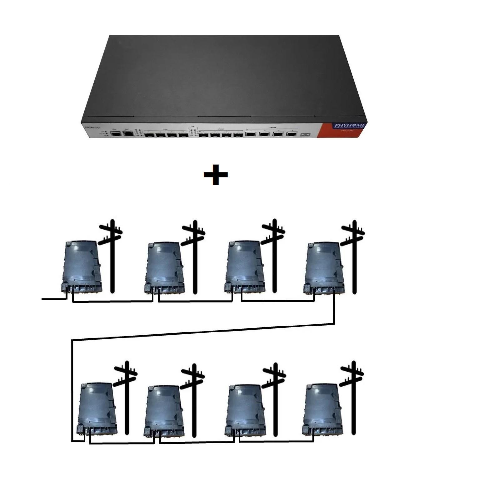 KIT OLT EPON FHL104C PHYHOME + Projeto Turn Key FTTH 8:1:8 - 64 Portas   - ComputechLoja