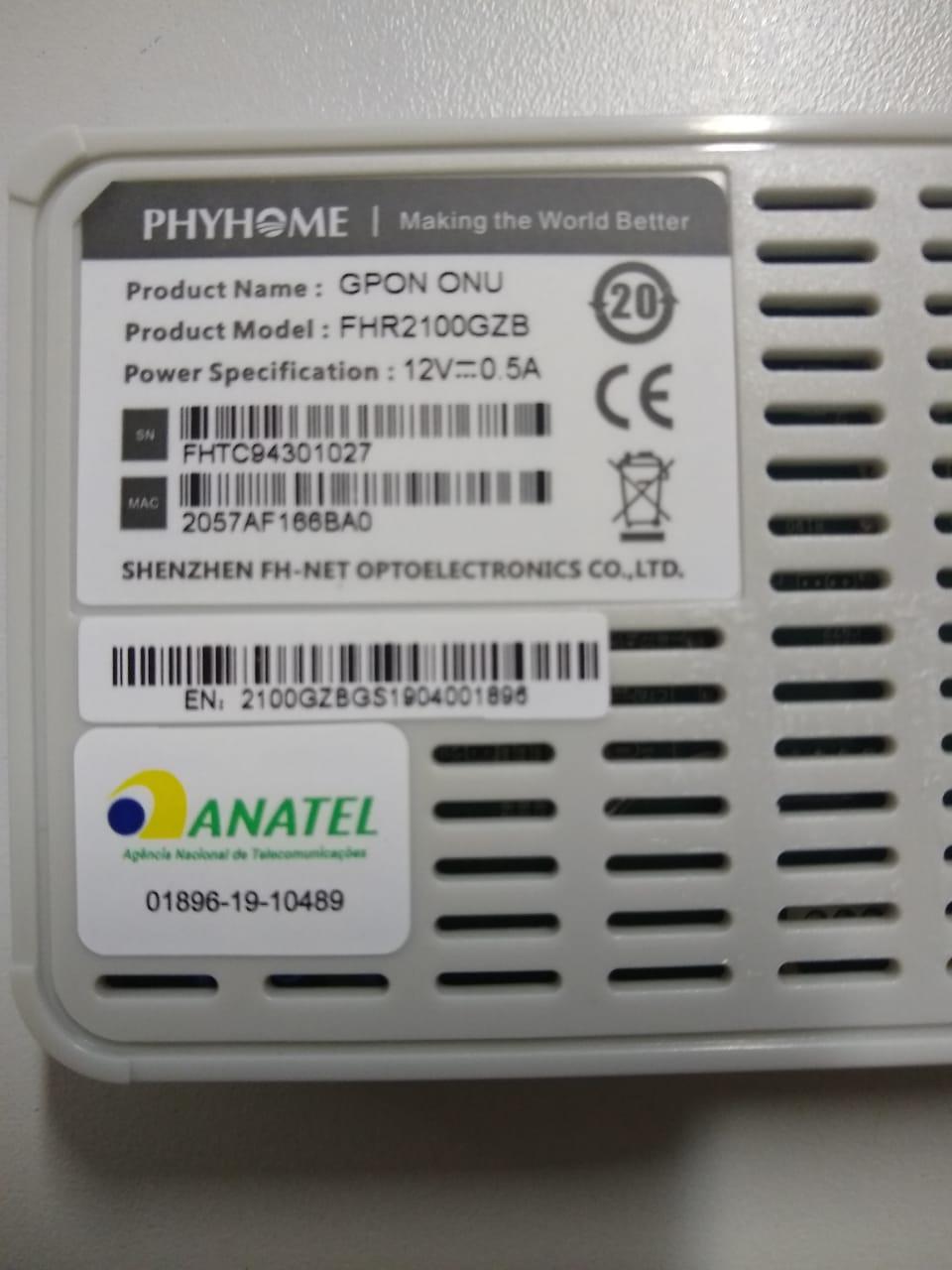 ONU GPON PhyHome Bridge / Router Gigabit (FHR2100GZB)  - ComputechLoja