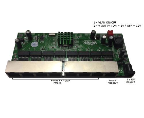 PCBA PAC Switch Gigabit 8 Portas Wi-Tek (WI-PS308GR)  - ComputechLoja