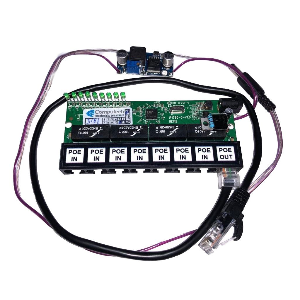 Placa PCBA Xwave PobreNet PAC Switch 8 Portas Fast Ethernet + Conversor DC/DC 12 - 48V  - ComputechLoja