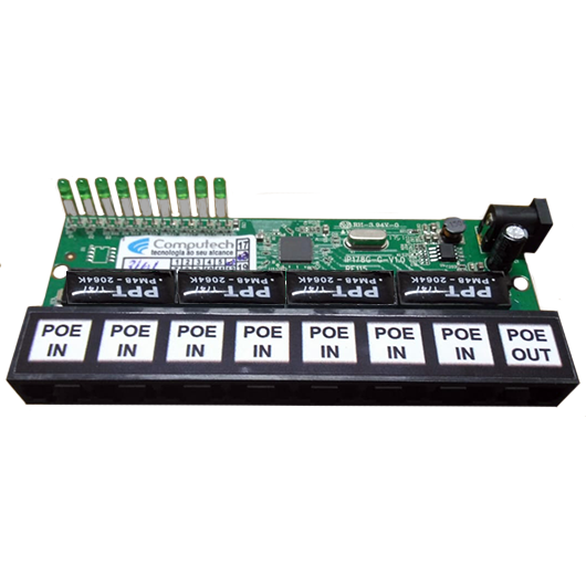 Placa PCBA Xwave PAC Switch 8 Portas Fast Ethernet  - ComputechLoja
