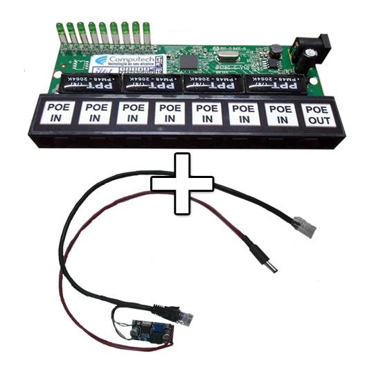 Placa PCBA Xwave PobreNet PAC Switch 8 Portas Fast Ethernet + Conversor DC/DC  - ComputechLoja