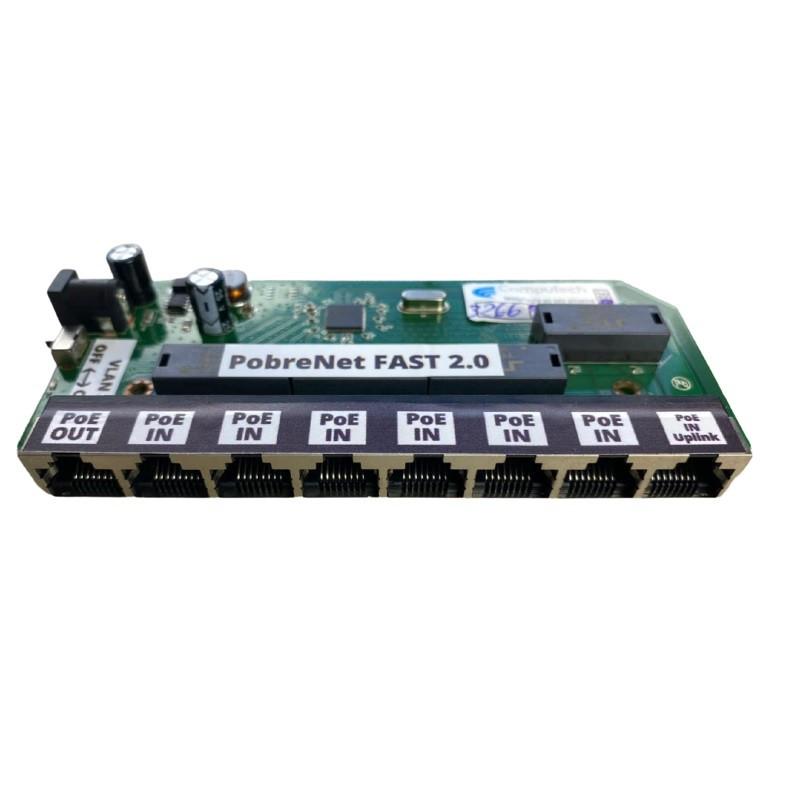 Placa Xwave PobreNet 2.0 PAC Switch 8 Portas Fast Ethernet Chave VLAN-BRIDGE 12 - 48V - PCBA  - ComputechLoja