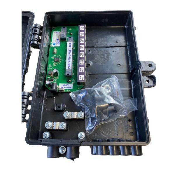 Xwave PobreNet 4x4 PAC Switch 8 Portas Fast Ethernet 4 IN 4 OUT 12 - 48v com caixa  - ComputechLoja