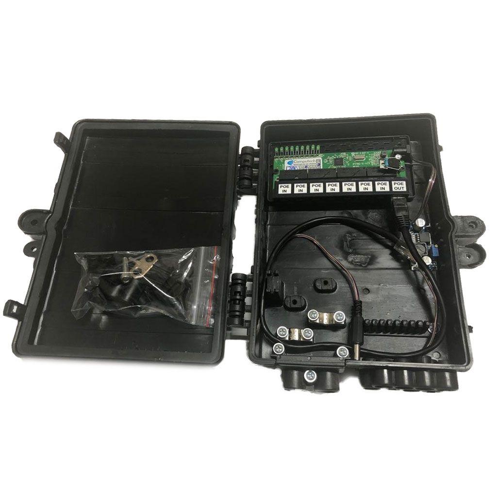 Xwave PobreNet PAC Switch 8 Portas Fast Ethernet com Conversor DC/DC 12 - 48V  - ComputechLoja